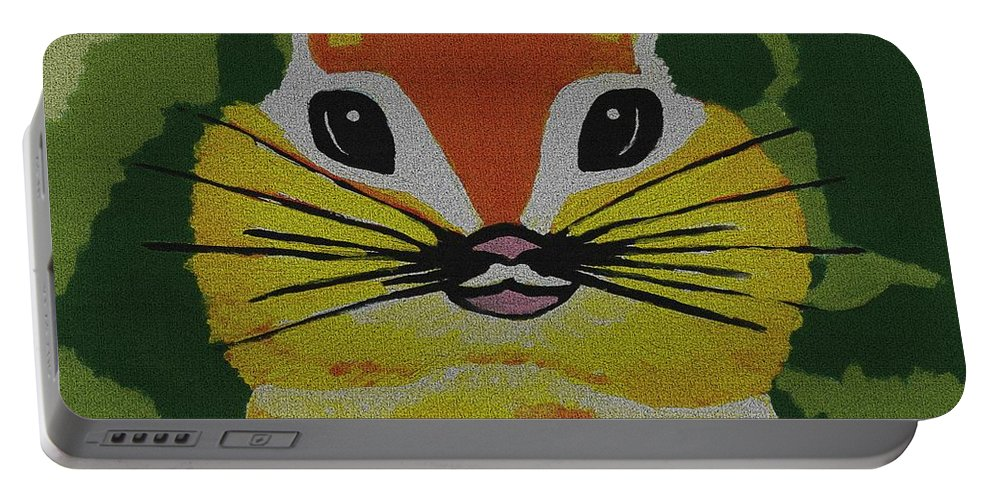 Animal Art Portable Battery Charger featuring the mixed media Mr Chipmunk by Kathleen Sartoris