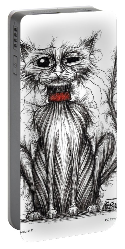 Grump Portable Battery Charger featuring the drawing Mr Grump by Keith Mills