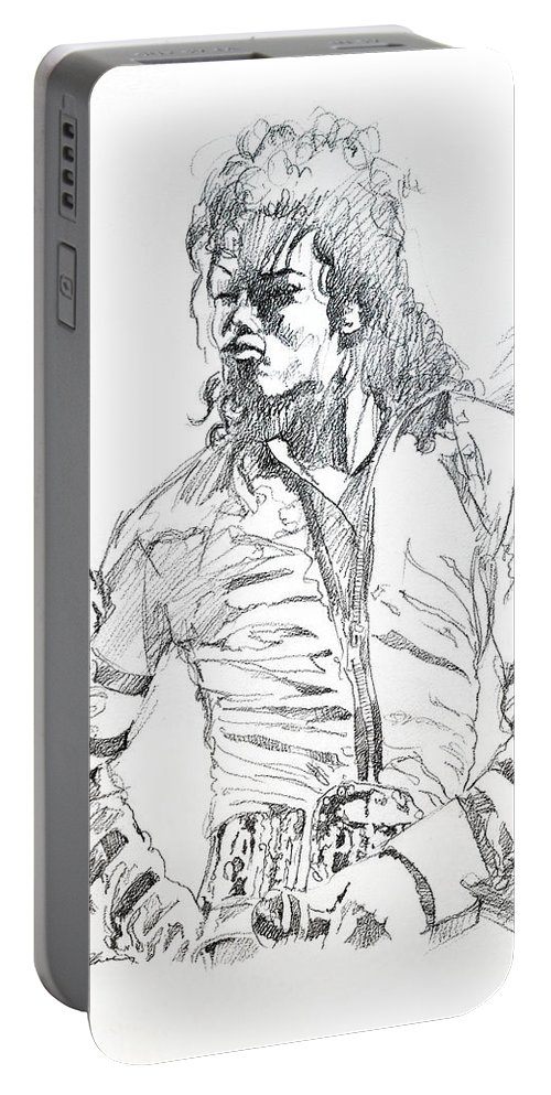 Michael Jackson Portable Battery Charger featuring the drawing Mr. Jackson by David Lloyd Glover
