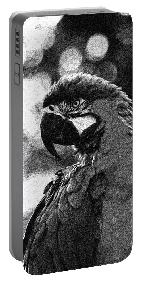 Nature Portable Battery Charger featuring the painting Mr Macaw The Parrot by Celestial Images