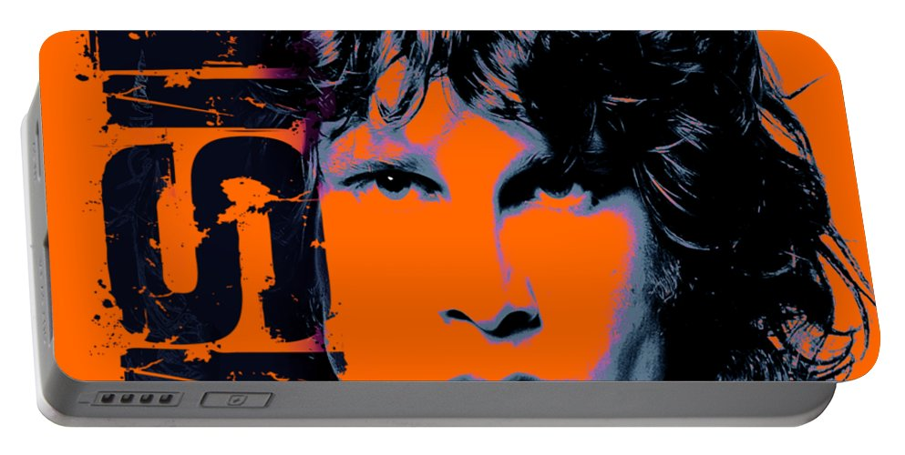 The Doors Portable Battery Charger featuring the digital art Mr Mojo Risin by Mal Bray