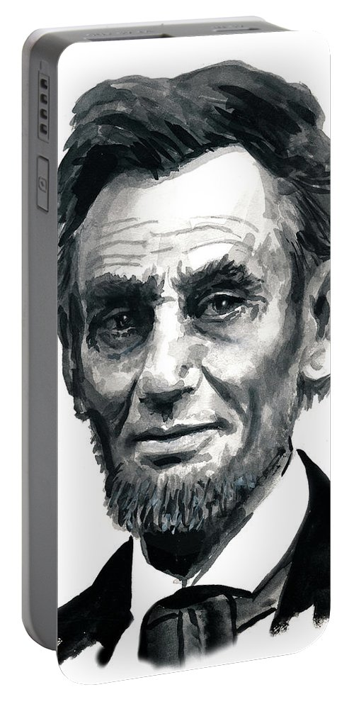 Lincoln President Man Of Honor Portable Battery Charger featuring the painting Mr President by Murry Whiteman