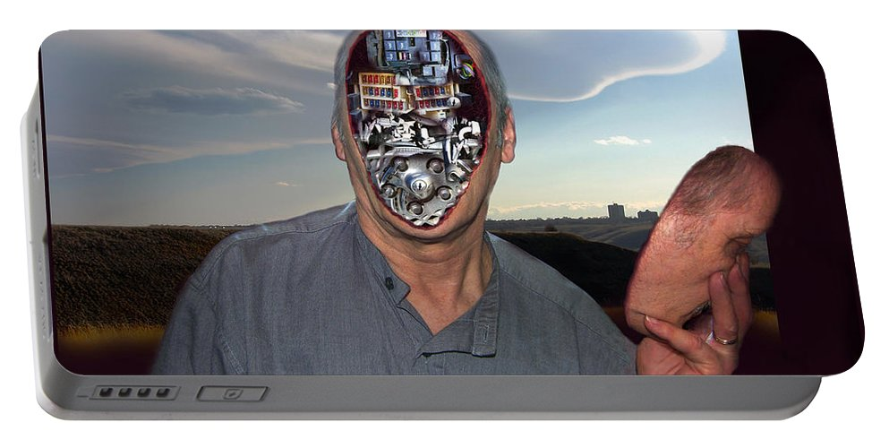 Surrealism Portable Battery Charger featuring the digital art Mr. Robot-otto by Otto Rapp