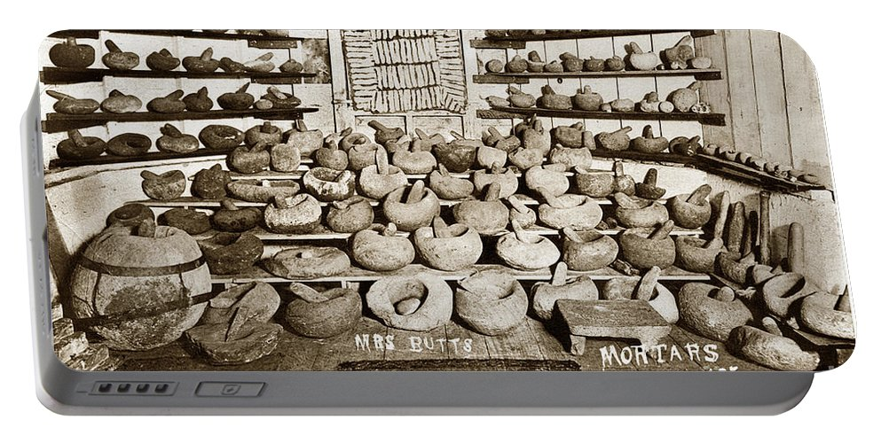 Mrs Butts Portable Battery Charger featuring the photograph Mrs. Butts Mortar And Pestle Collection Found In San Benito Co. by California Views Mr Pat Hathaway Archives