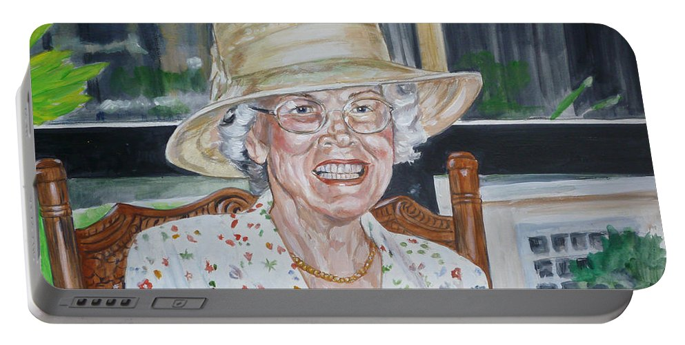 Portrait Portable Battery Charger featuring the painting Mrs Spencer by Bryan Bustard