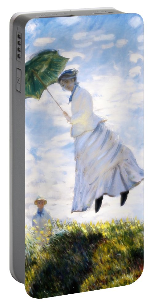 Camille Monet Portable Battery Charger featuring the painting Ms Monet Blown Away by Gravityx9 Designs
