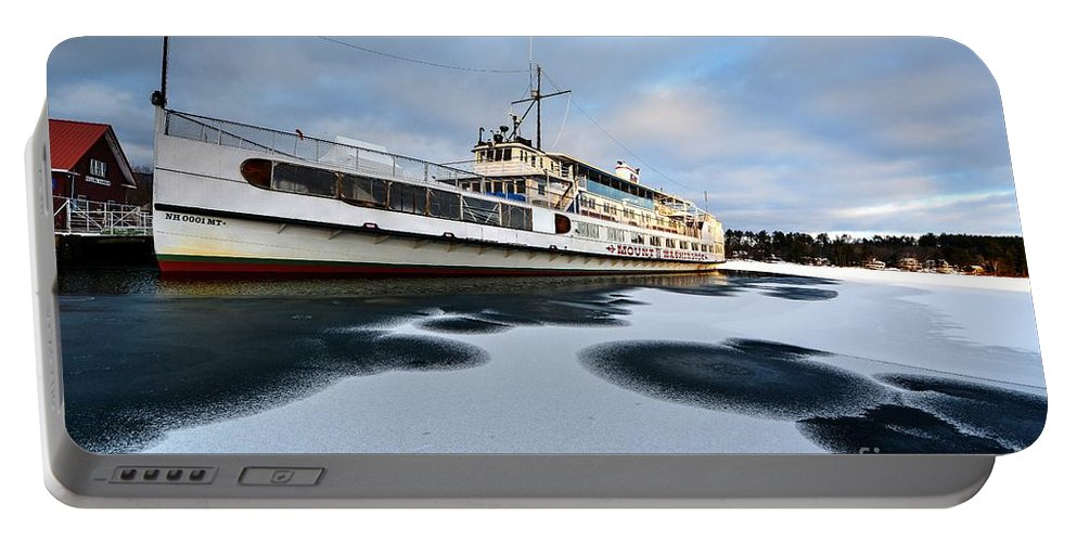 Landscape Portable Battery Charger featuring the photograph Ms Mount Washington At Winter Dock by Steve Brown