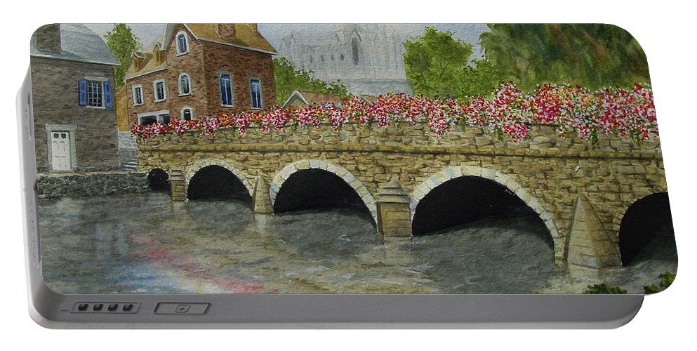 Watercolor Portable Battery Charger featuring the painting Ms23 French Stone Bridge by Mark Spitz