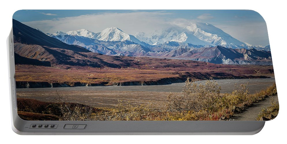 Mt Denali Portable Battery Charger featuring the photograph Mt Denali View From Eielson Visitor Center by Eva Lechner