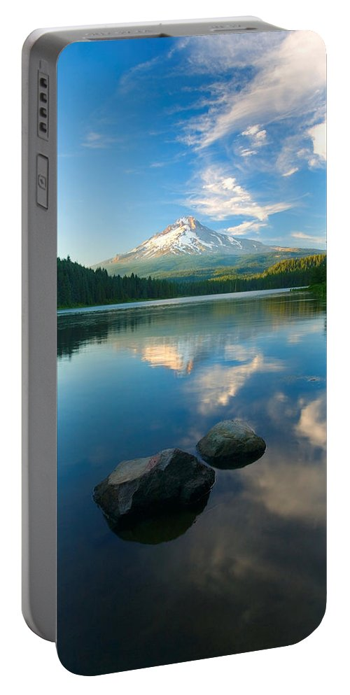 Mt. Hood Portable Battery Charger featuring the photograph Mt. Hood Cirrus Explosion by Mike Dawson
