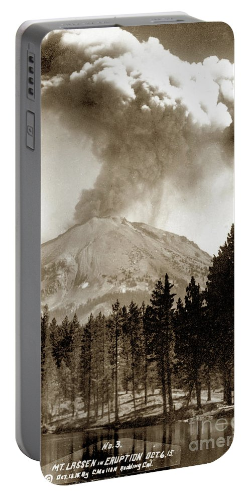 Mt. Lassen Portable Battery Charger featuring the photograph Mt. Lassen In Eruption Oct. 6, 1915 by California Views Archives Mr Pat Hathaway Archives