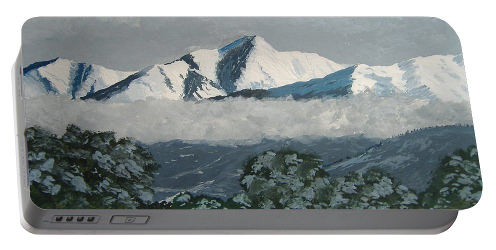 Colorado Portable Battery Charger featuring the painting Mt Princeton Co by Norm Starks