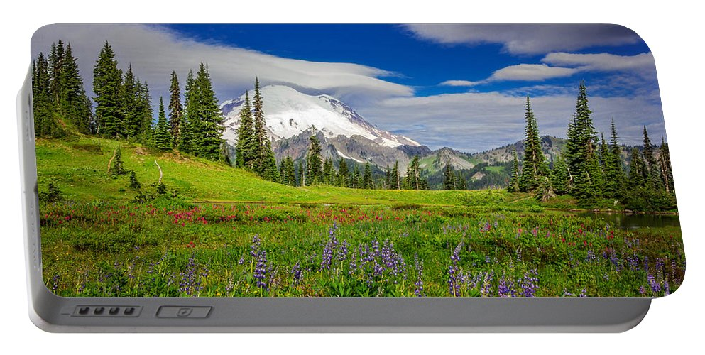 Washington Portable Battery Charger featuring the photograph Mt Rainier And Wildflowers by Joan McCool