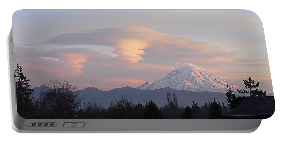 Mountain Portable Battery Charger featuring the photograph Mt Rainier Lenticular Funnels by Shirley Heyn