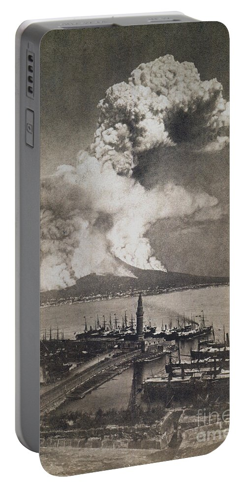 1872 Portable Battery Charger featuring the photograph Mt. Vesuvius Erupting by Granger