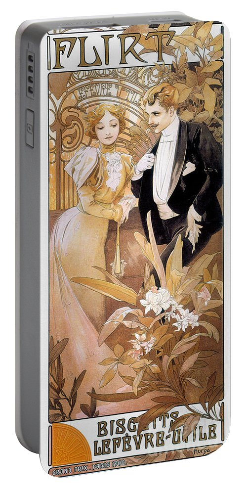 1895 Portable Battery Charger featuring the photograph Mucha: Biscuit Ad, C1895 by Granger
