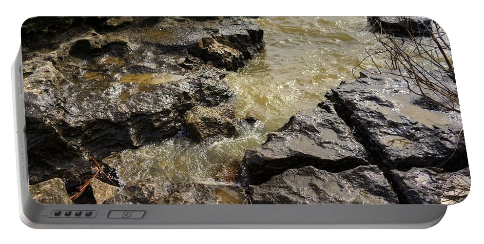 Clarksville Portable Battery Charger featuring the photograph Muddy Water On The Rocks by FineArtRoyal Joshua Mimbs