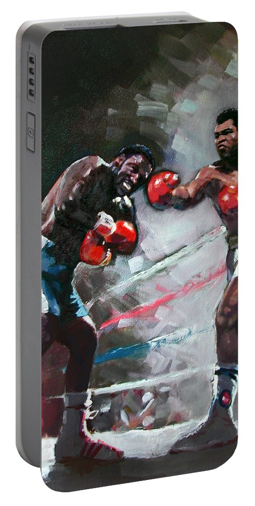 Muhammad Ali Portable Battery Charger featuring the painting Muhammad Ali And Joe Frazier by Ylli Haruni