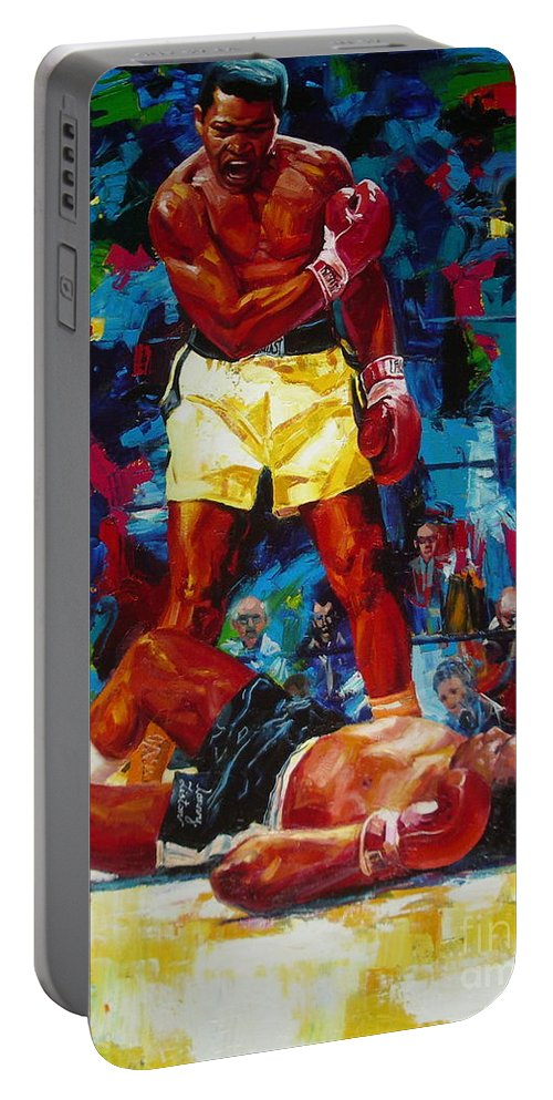 Ignatenko Portable Battery Charger featuring the painting Muhammad Ali by Sergey Ignatenko