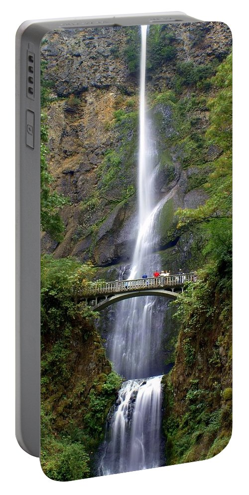 Waterfalls Portable Battery Charger featuring the photograph Multanomah Falls by Marty Koch