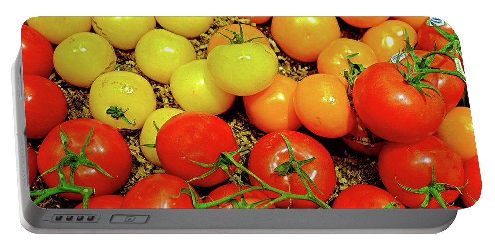 Multi Colored Tomatoes Portable Battery Charger featuring the photograph Multi Colored Tomatoes by Robert Meyers-Lussier