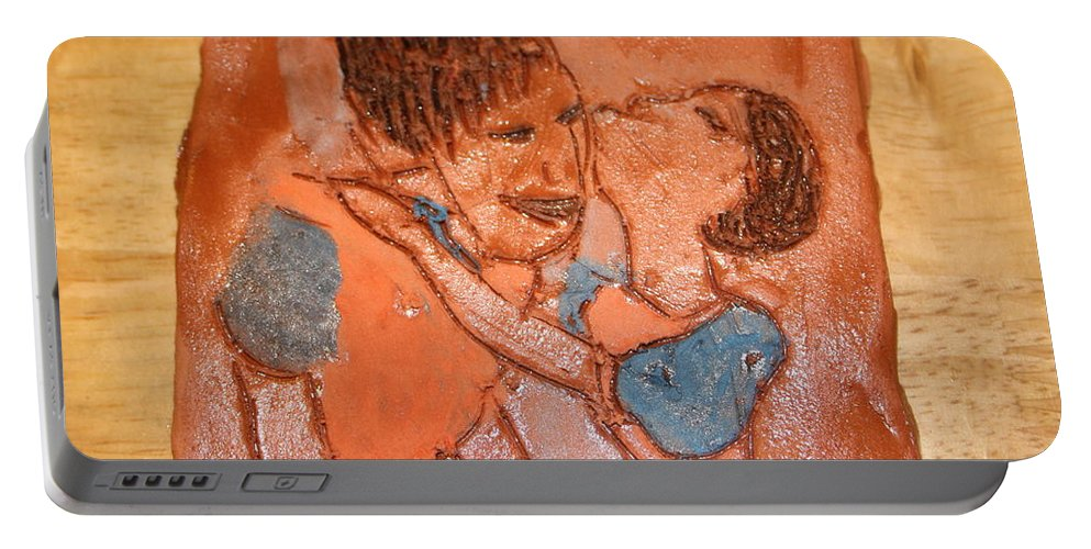 Jesus Portable Battery Charger featuring the ceramic art Mum 5 - Tile by Gloria Ssali