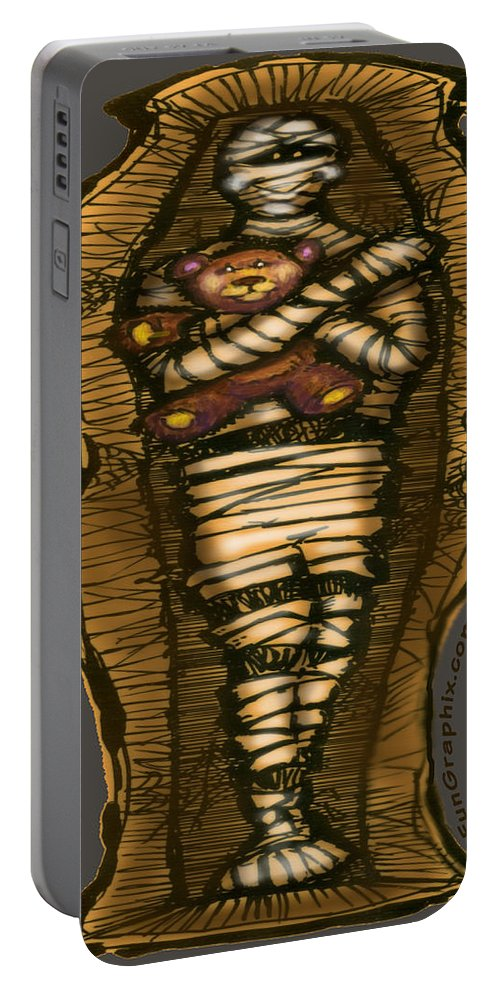 Halloween Portable Battery Charger featuring the greeting card Mummy And Teddy by Kevin Middleton