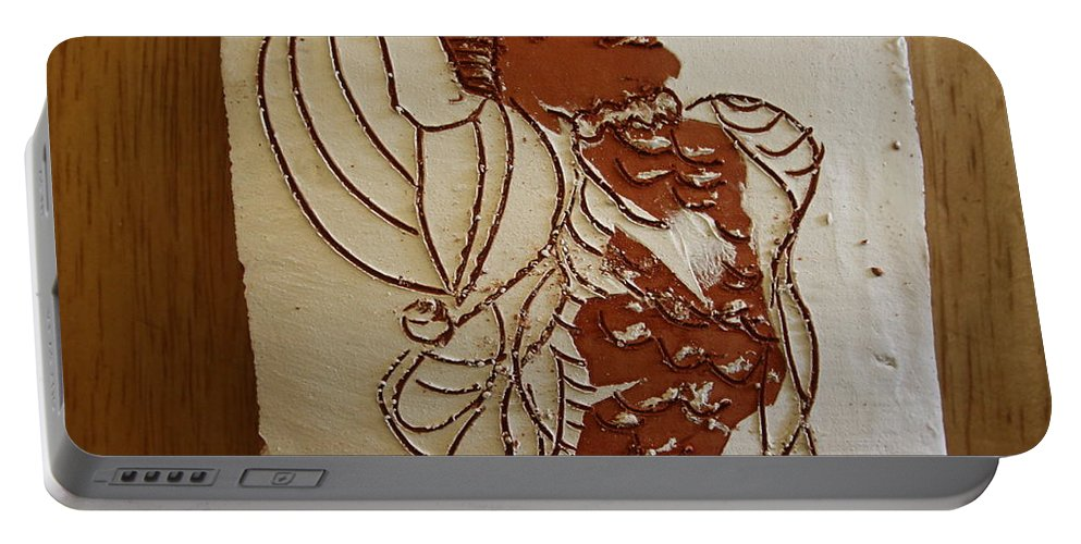 Jesus Portable Battery Charger featuring the ceramic art Mums Ahead - Tile by Gloria Ssali