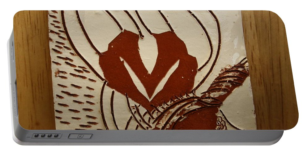 Jesus Portable Battery Charger featuring the ceramic art Mums Around - Tile by Gloria Ssali
