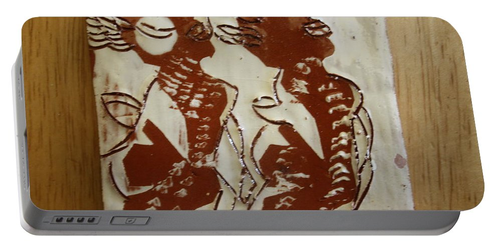 Jesus Portable Battery Charger featuring the ceramic art Mums Union - Tile by Gloria Ssali