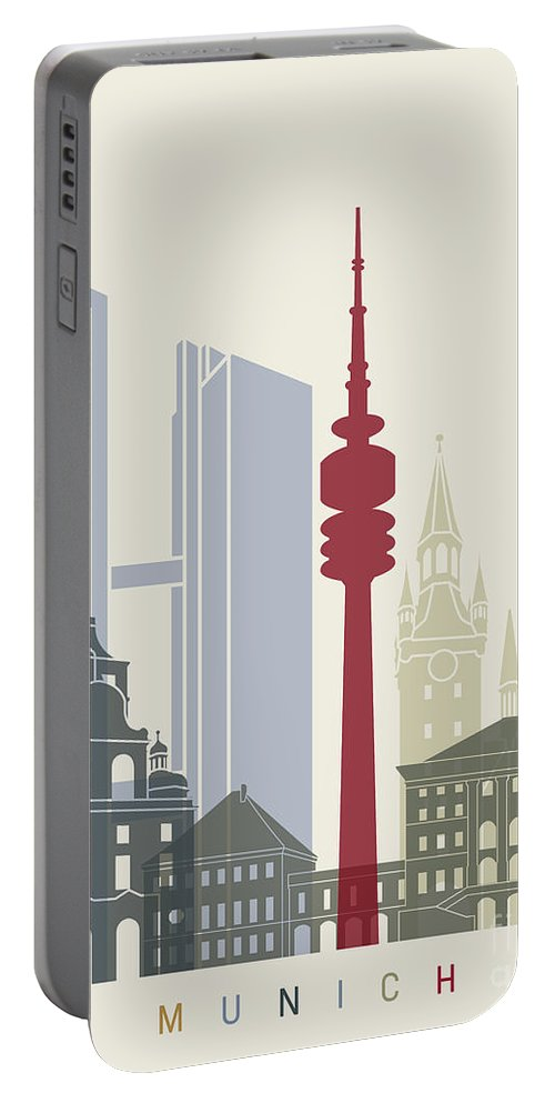 Europe Portable Battery Charger featuring the painting Munich Skyline Poster by Pablo Romero