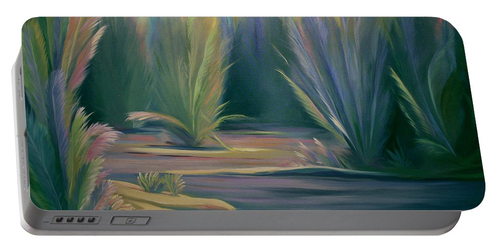 Feathers Portable Battery Charger featuring the painting Mural Field Of Feathers by Nancy Griswold