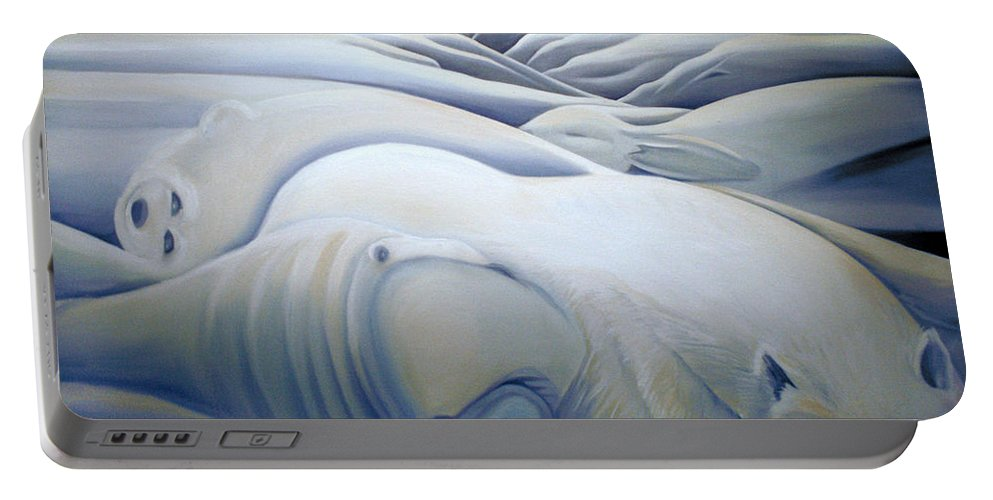 Mural Portable Battery Charger featuring the painting Mural Winters Embracing Crevice by Nancy Griswold