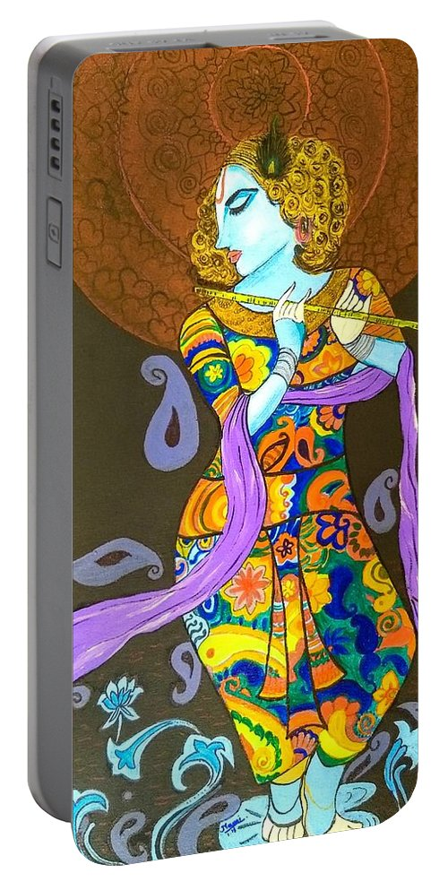 Lord Portable Battery Charger featuring the painting Murlimanohar Shyaam by Namrata Patel