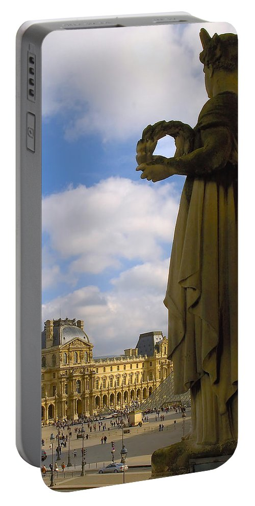 Paris France Portable Battery Charger featuring the photograph Musee Du Louvre by Mick Burkey