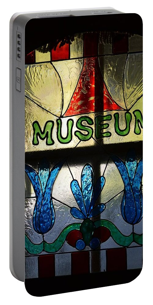Stained Glass Portable Battery Charger featuring the photograph Museum by Robert Lowe