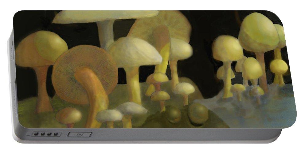 Mushrooms Portable Battery Charger featuring the digital art Mushrooms by Ian MacDonald