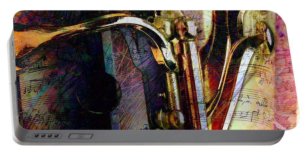 Clarinet Portable Battery Charger featuring the digital art Music by Barbara Berney