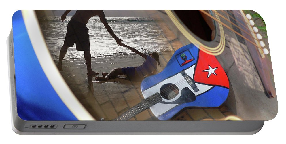 Music Portable Battery Charger featuring the photograph Music By The Sea by Kelly Jade King