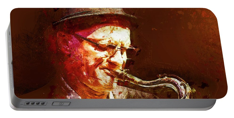 Digital Portable Battery Charger featuring the painting Music - Jazz Sax Player With A Hat by Arthur Babiarz