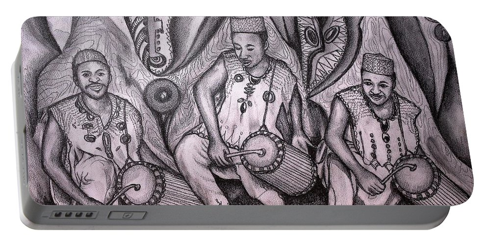 Music-making Portable Battery Charger featuring the painting Music-making For Cosmic Unity #1 by Mbonu Emerem