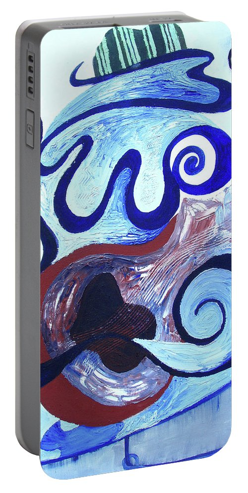 Absract Music Art Portable Battery Charger featuring the painting Music Man by Catt Kyriacou