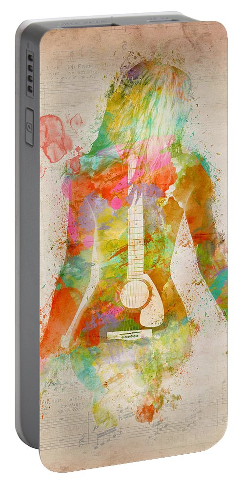 Guitar Portable Battery Charger featuring the digital art Music Was My First Love by Nikki Marie Smith