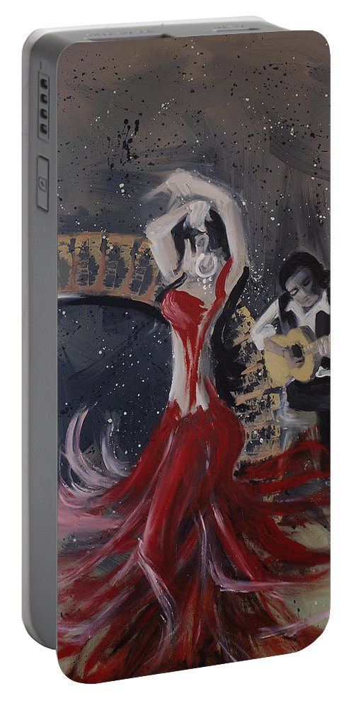 Dance Portable Battery Charger featuring the painting Musica Espaniol by Kelly Jade King