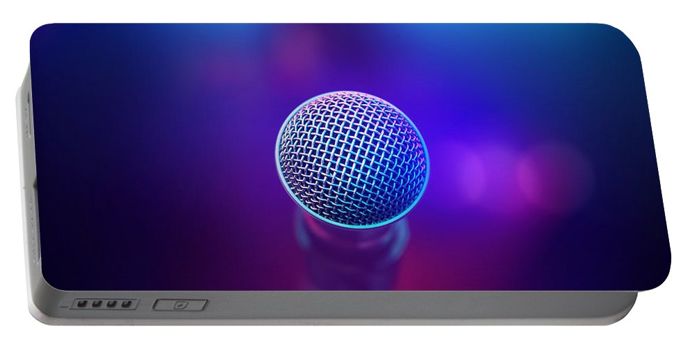Microphone Portable Battery Charger featuring the photograph Musical Microphone On Stage by Johan Swanepoel