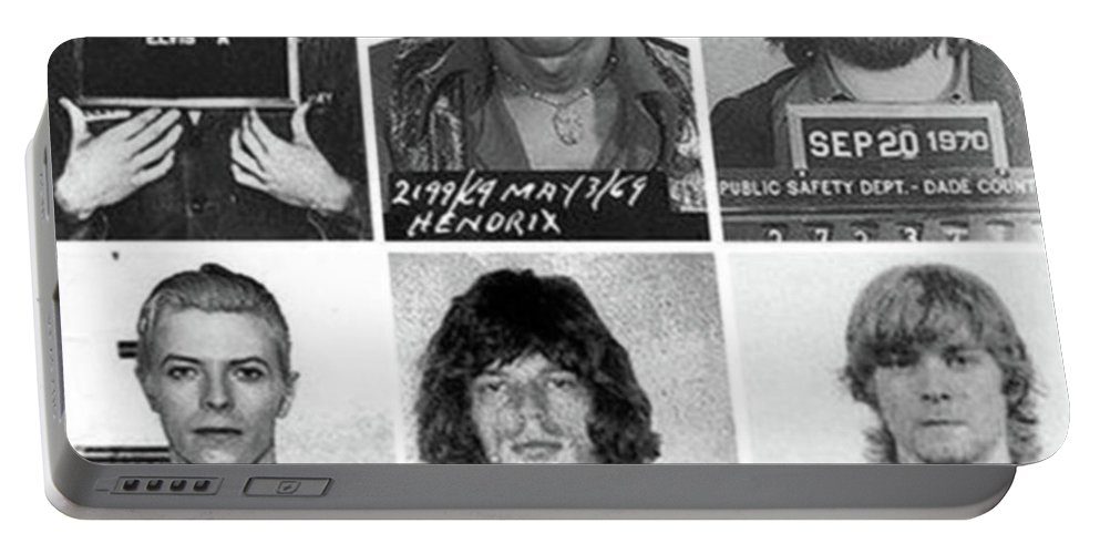 Jimi Hendrix Portable Battery Charger featuring the photograph Musical Mug Shots Three Legends Very Large Original Photo 6 by Tony Rubino