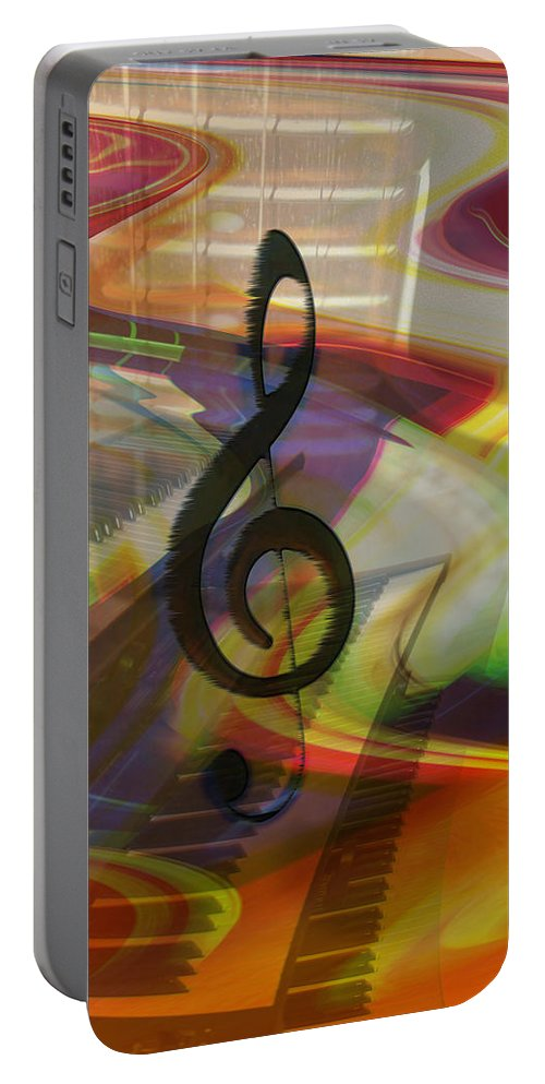 Keyboards Portable Battery Charger featuring the photograph Musical Waves by Linda Sannuti