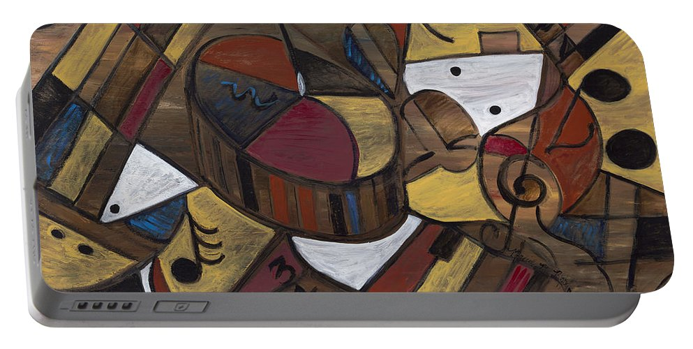 Brown Portable Battery Charger featuring the painting Musicality In Brown by Nadine Rippelmeyer