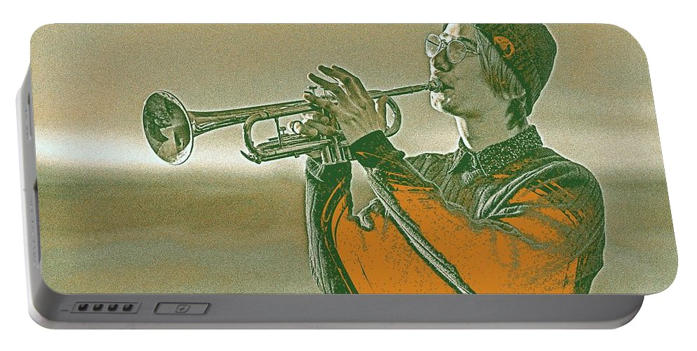 Man Portable Battery Charger featuring the painting Musician Youth 3 by Celestial Images