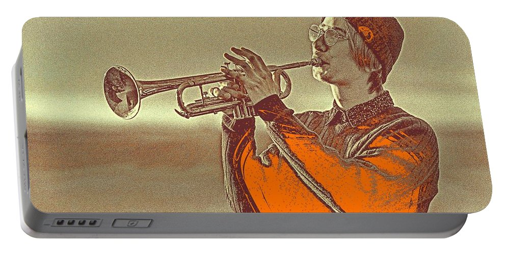 Man Portable Battery Charger featuring the painting Musician Youth by Celestial Images